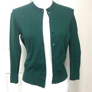 J Crew 3/4 Sleeve Cardigan in Dark Green Sz S